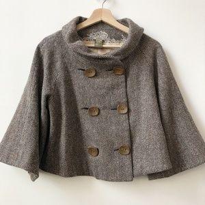 Jak&Rae Anthropologie Brown Tweed Cape Jacket